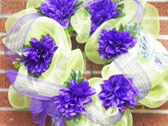 Lime Green and Purple Deco Mesh Wreath by CountryCraftDesigns