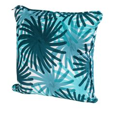 This striking pillow has a down insert with a cover in 100% cotton decorated using the pigment printing technique with a pattern of blue, aqua, and turquoise fireworks.