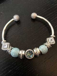Teal Pandora sparkly bangle – Jewelry And Accessories Pandora Open Bangle, Pandora Bangle Bracelet, Pandora Jewelry, Handmade Silver Jewellery, Vintage Jewellery, Antique Jewelry, Bangles, Wrap Bracelets, Charm Bracelets