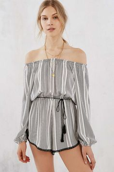 Ecote Striped Off-The-Shoulder Romper.  Please give this to me!