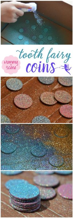 Celebrate your child losing their first tooth with glittery DIY tooth fairy coins - Mommy Scene Tooth Fairy Receipt, Tooth Fairy Doors, Tooth Fairy Money, Activities For Kids, Crafts For Kids, Diy Crafts, Craft Kids, Party Crafts, Summer Crafts