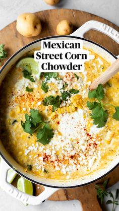 Chowder Recipes, Soup Recipes, Dinner Recipes, Corn Soup, Corn Chowder, Mexican Dishes, Mexican Food Recipes, Crockpot Recipes, Cooking Recipes