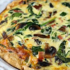 Ham, Spinach & Mushroom Quiche Recipe Breakfast and Brunch, Main Dishes, Lunch with refrigerated piecrusts, butter, sliced mushrooms, green onions, fresh spinach, large eggs, salt, milk, shredded swiss cheese, smoked gouda, cooked ham