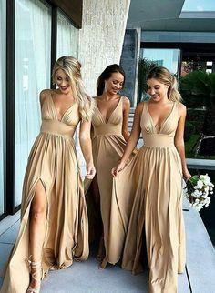 Champagne v neck long prom dress, champagne bridesmaid dress - / picture color Champagne Bridesmaid Dresses, Gold Bridesmaids, Wedding Bridesmaid Dresses, Wedding Gowns, Champagne Dress, Formal Wedding, Champagne Beach, Wedding Venues, Boho Wedding