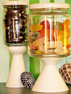 Jars with lids perched upon a stand would make for a homey touch on a dessert table