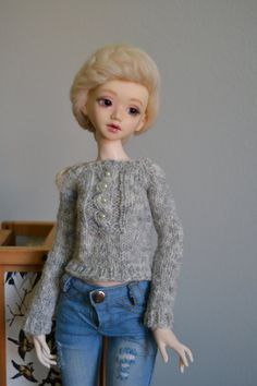 Heather grey sweater with glass beads for slim mini BJD, Unoa, Minifee, Dollzone and Elfdoll msd etc. by junipa on Etsy