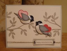 handmade Valentine card ... two-step bird in chickadee coloring ... two birds in a tree with hearts under their wings ... beautiful! ... Stampin' Up!