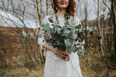 Eucalyptus, twiggy bridal bouquet - Glen Coe elopement // www.tupelotree.co.uk