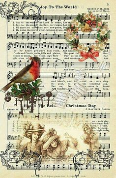 Music paper with Christmas pictures. Christmas Sheet Music, Noel Christmas, Victorian Christmas, Christmas Paper, Christmas Projects, Christmas Mantles, White Christmas, Christmas Ornaments, Images Vintage