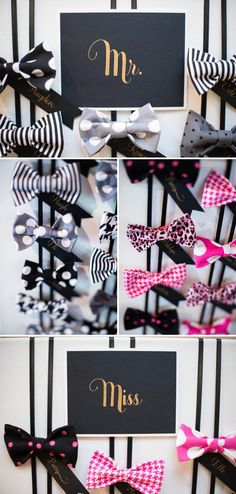 Great party favor idea! The girls get a bow and the boys get a bow tie! Love it!
