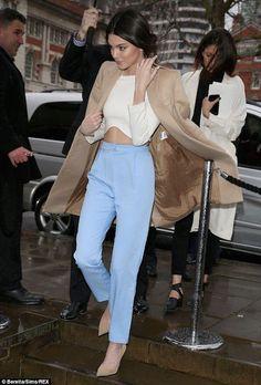Kendall Jenner, blue pants, crop top, tan blazer coat