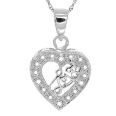 Natural Diamond Sterling Heart Love Pendant w/Chain For Mother's Day $1200