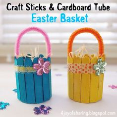 Easter Crafts – This list of simple Cute And Easy Easter Basket Craft is totally adorable! Easter Arts And Crafts, Spring Crafts For Kids, Easter Crafts For Kids, Recycled Crafts For Kids, Bunny Crafts, Kids Diy, Popsicle Stick Crafts, Craft Stick Crafts, Preschool Crafts