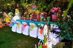 Alice in Wonderland / Mad Hatter theme party decorations and props available to rent from : Wonderland Party Props