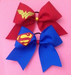 Super Hero Cheer Bows. Not really wedding stuff but I didn't know where else to pin it for everyone to see lol