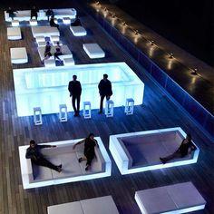 Lounge Design, Bar Lounge, Architecture Design Concept, Plans Architecture, Rooftop Restaurant, Rooftop Bar, Rooftop Lounge, Kindergarten Architecture, Hookah Lounge Decor