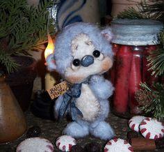 "Primitive Christmas Fuzzy Teddy Bear 5"" Ornament Mini Doll ★ Vtg Patti's Ratties,,,for ordering information contact me at pattisratties3d@yahoo.com"