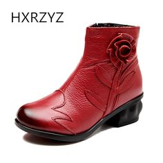 628971fd9 US $59.7  HXRZYZ women ankle boots genuine leather side zipper  spring/autumn hot new fashion plush boots women rubber bottom flower shoes-in  Ankle Boots ...