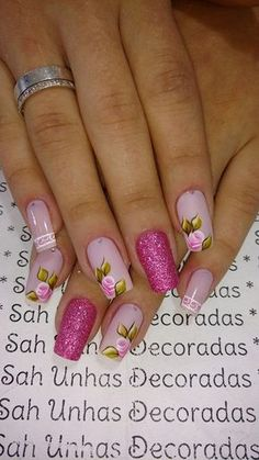Ideas For Nails Design Frances Glitter Diy Nails, Swag Nails, Glitter Nails, Manicure, Fingernail Designs, Cute Nail Designs, Pretty Nail Art, Beautiful Nail Art, Nails Only