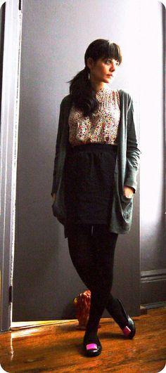 shirt/swap (it was my friend's!) tights & skirt/AA cardigan & flats/sweatshop retail shoe clips/vintage