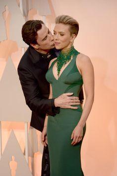 John Travolta and Scarlett Johansson, Red Carpet, Oscars 2015