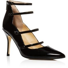 Ivanka Trump Dritz Patent Leather Strappy Pointed Toe Mary Jane Pumps... ($155) ❤ liked on Polyvore featuring shoes, pumps, black, black patent leather mary janes, pointy-toe pumps, black stilettos, mary jane pumps and patent leather pumps