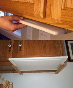 Store your chopping board under the kitchen cabinet.