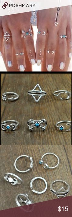 Boho Style Silver Plated Ring Set! Stunning Boho Style Silver Plated Ring Set.  Six Rings.  Some adjustable some with turquoise. Jewelry Rings