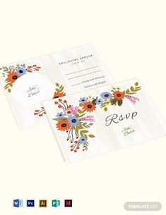Small Flower Wedding RSVP Card Template