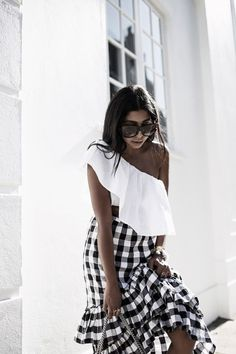 ONE SHOULDER TOPS AND GINGHAM RUFFLED SKIRTS