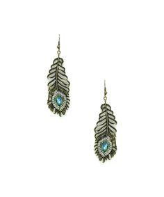 Eye Candy LA Bronze Peacock Earrings | zulily