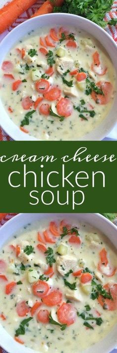A cream cheese based soup loaded with diced chicken, fresh carrots, potatoes and parsley.This cream cheese chicken soup is perfect comfort food for a cold day.