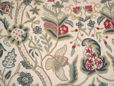 William Morris Style Material Linen Crewel Embroidery Fabric