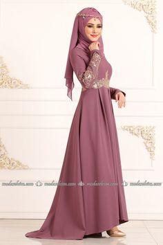 Gold Güpürlü Peplum Abiye 4921AY342 Gül Kurusu - Moda Selvim Modern Islamic Clothing, Modest Evening Gowns, Peplum, Hijab Style Dress, Muslim Dress, The Dress, Hijab Fashion, Formal Dresses, Clothes