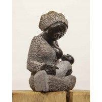 Mothers Love by Benjamin Katiyo Family Sculpture, Breastfeeding Art, Mothersday Gift, Mothers Love, Mother And Child, Sculptures, Winter Hats, Crochet Hats, Stone