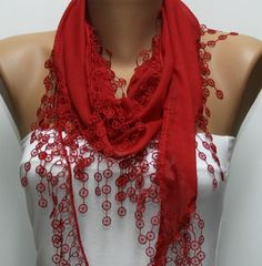 Red Scarf � Cotton Scarf � Cowl Scarf with Lace Edge � fatwoman