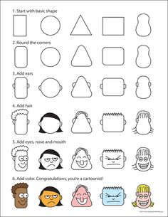 How to draw simple cartoon faces. PDF tutorial included. #howtodraw #cartoondrawing