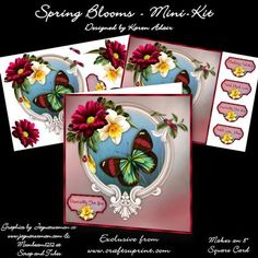 """Spring Blooms 8 Square Card Mini Kit on Craftsuprint designed by Karen Adair - This two sheet mini-kit will make this beautiful 8"""" square card. The kit contains a card front, and plenty of decoupage. The kit also includes 5 sentiment tags, one of which I have left blank so that you can personalise if you wish. If you like this check out my other designs, just click on my name. - Now available for download!"""