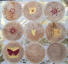 Pinning prompt #10 Tea stained. Freckles and Flowers blog. Tea bags with bonding and stitch.