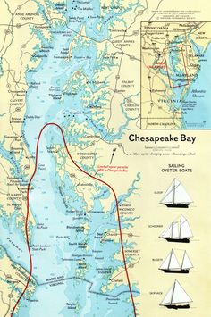 "Map of Chesapeake Bay. Drawn by Iskandar Baday and Lisa Biganzoli. Compiled by Leo J. Boberschmidt. From ""Chesapeake Bay,"" Nati..."