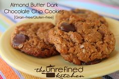 Almond Butter Dark Chocolate Chip Cookies- grain free and only a few ingredients, readers love these. #almondbuttercookies #darkchocolate
