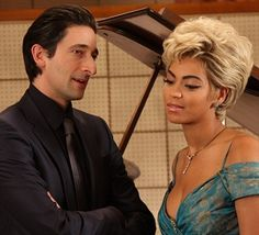 "Beyoncé Knowles (September 4, 1981 - ) as Etta James and Adrien Brody (April 14, 1973- ) as Leonard Chess in ""Cadillac Records"", 2008 #still #actor"