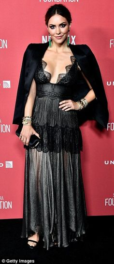 Busting out: Mandy Moore and Katherine McPhee dared to bare in revealing gownsas they walked the red carpet at Thursday's SAG-AFTRA Foundation Patron of the Artists Awards in LA
