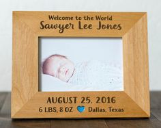 Personalized Baby Gift, 4x6 Picture Frame, Birthdate and Weight, Location, Birth Stats, Custom Baby, Newborn Baby Welcome to the World