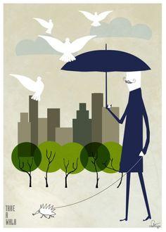Take a walk - Liten illustration / vykort 14x20cm