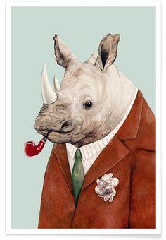 Rhino als Premium Poster von Animal Crew | JUNIQE