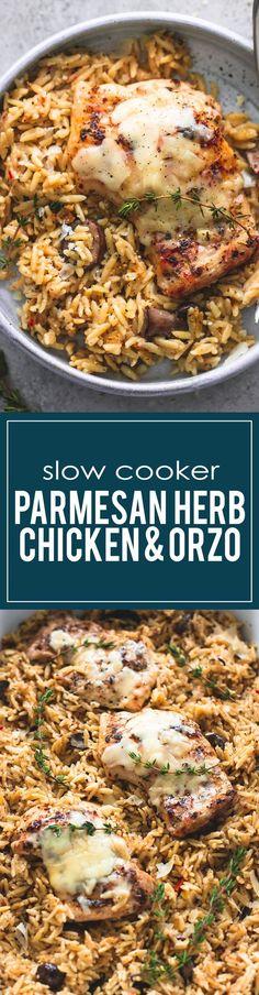 Slow Cooker Parmesan Herb Chicken & Orzo | http://lecremedelacrumb.com