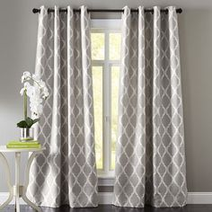 Woven jacquard construction highlights the soft geometric pattern of this classic design. Fully lined and a breeze to hang with a grommet top, our curtain gives your room an instant and stylish update. Curtains For Grey Walls, Dining Room Curtains, Silver Curtains, Grey And White Curtains, Burgundy Curtains, Bedroom Curtains, Gray Walls, Kitchen Curtains, Dining Rooms