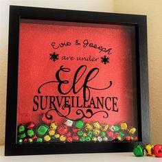 Elf on the shelf, Personalized Elf on the Shelf inspired Box Frame Gift, Elf Surveillance Frame, Scout Elf, Christmas gift for children