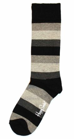 Black Grey Stripe Mens Dress Sock - Happy Socks